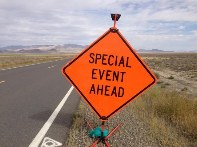K640_2014-09-08_10_10_27_A__Special_Event_Ahead__sign_along_Nevada_State_Route_305_(Austin-Battle_Mountain_Road)_about_70_6_miles_north_of_U_S__Route_50_in_Lander_County,_Nevada
